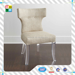 Customized acrylicand leather dining chair with lether top ,New elegant design acrylic sofa chair with back from China low price