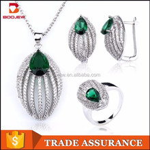 noble mico pave setting silver bridal jewelry set with green gemstone