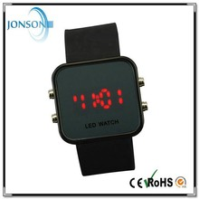 Custom brand name led watch black metal