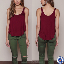 women clothing manufacturers burgundy draped swing jersey tank top