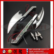 KCM230 Motorcycle mirror for Harley XL CHROME LED Turn signal Crooked Arrow style mirrors