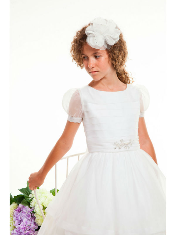 Aliexpress.com : Buy Modest Puff Sleeves White First Communion ...