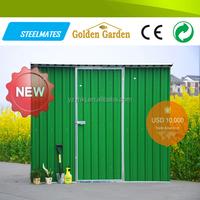 Waterproof metal garden shed with one sliding door