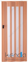 Wood grain folding partition wall with glass folded kitchen door