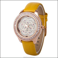2015 popular and hot selling wrist watch with special flower desiign for ladies
