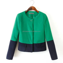 Top brand women new design green short woven jacket with navy patchwork