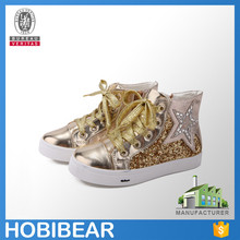 HOBIBEAR popular design children high top skate board shoes casual paillette flat shoes
