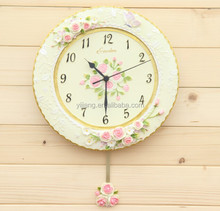 Factory Resin White Rose Wall Clock Country Style NO.:012