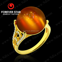 2015 Fashion Design14K Gold Chrysonitor Rings with Diamond Exotic Red Gemstone Yellow Gold Plated Jewelry GR0000677