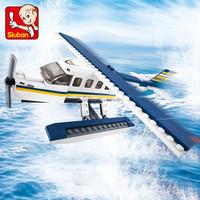 Popular game model kits sluban building blocks ABS plastic of aviation airport play set educational toys for kids