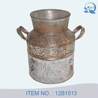Antique tin flower pot metal flower pitcher in fujian