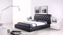 2014 modern full size luxury black leather bed
