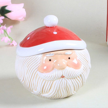 Interesting Christmas product Christmas ceramic cookie candy jar with 3D Santa Claus