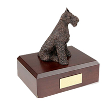 Latest custom design wood pet cremation ashes urn with figurine on top