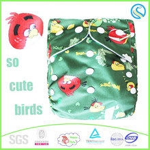 Happy flute baby cloth diaper,Single row round wings,reusable,washable,adjustable birds pattern nappy,wholesale China