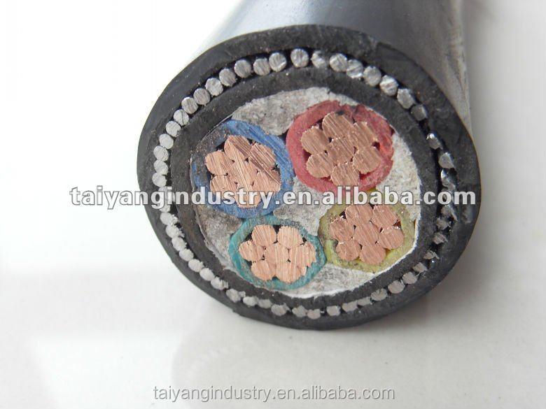 4 núcleo 185mm2 fio de aço blindado cabo de alimentação de cobre / cabo de cobre