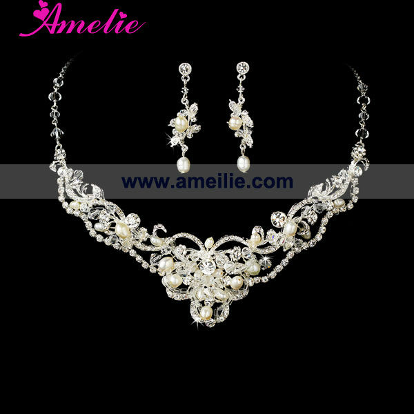 Wholesale pearl and rhinestone bridal jewelry set buy for Wholesale cowgirl bling jewelry