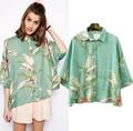 14948 nueva moda 2015 primavera verano media manga da vuelta abajo camisa de plantas de impresión blusa camisa manga Batwing blusa