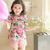 phelfish girls short sleeve T shirts baby fashion printed T shirt Korean style children's clothing Girls blouse apparel 13152