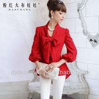 Dabuwawa Female's bow-tie tailcoat lap three quarter sleeve shirt blouse bow collar red green white lady fashion 2013
