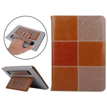 Luxury Design Grid Pattern Smart Flip Leather Case for iPad Air 2 with Hand Strap