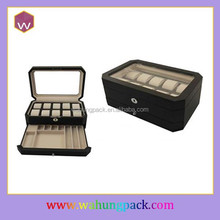 New design black color custom luxury leather watch box for men with clear window wholesale