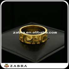 2015 CHC letters smooth annular ring the gold-plated copper ring for women or man ring clock mechanical jewelry for sale
