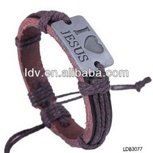 Jesus initial God blessing brown weave and leather bracelet&bangle