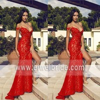 Sexy spaghetti sweetheart lace split mermaid red see through prom dress