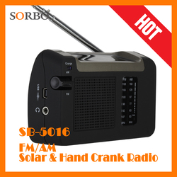 SORBO Solar Hand Crank Dynamo Radio AM/FM Rechargeable Li-ion Battery