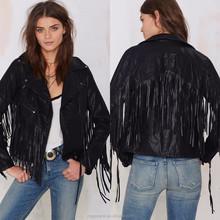 Bulk wholesale woman jacket,fashion women clothing black biker motorcycle leather fringe jacket
