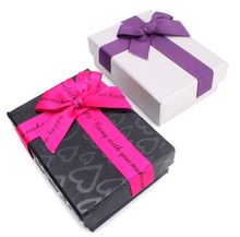 Rectangle Jewellery Gift Boxes Bowknot Cardboard Paper Boxes For Pendant Necklace Assorted Color