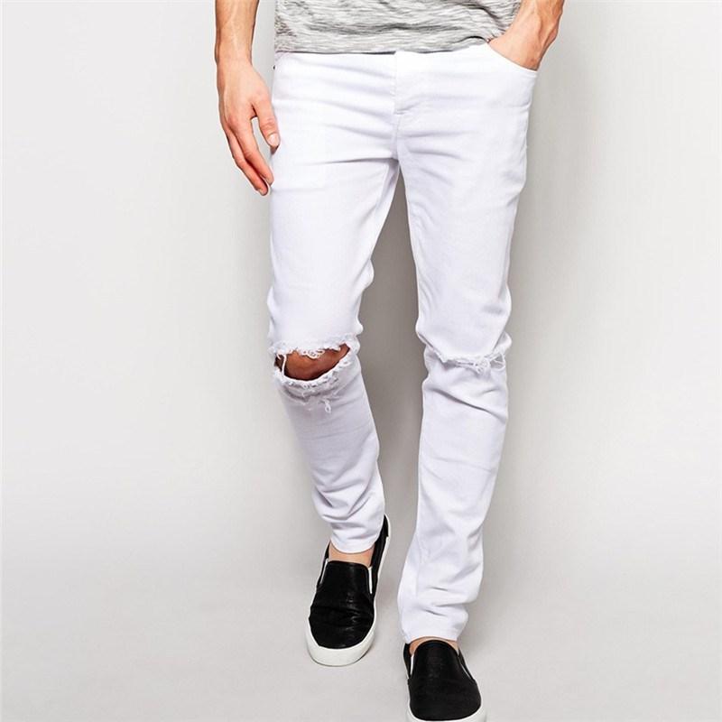 Skinny White Knee Ripped Jeans Men