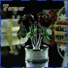 Long Stem Red Crystal Glass Rose for the Wedding Souvenirs