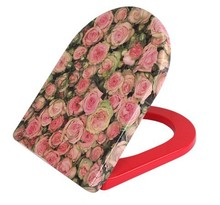 flower printing U shape duroplast toilet seat