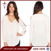 Autumn fashion ladies Long sleeve white chiffon hand work saree blouse designs modern