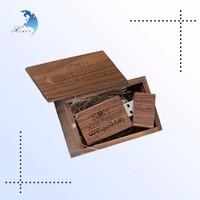 wholesale square laser engraved walnut wood USB Flash drive
