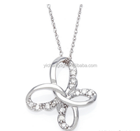 India Cheap Beautiful Gold Diamond Butterfly Pendant Necklace for Girlfriend for Wholesale
