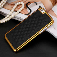 Plating PU Leather Skin Mobile Phone Cover Case For iPhone 6