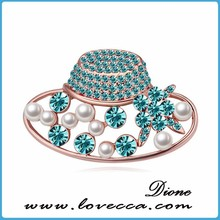 Genuine article /oem quality Crystal Women hat Brooch jewelry / make with Austrian crystal