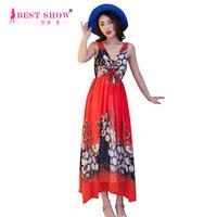 2015 Summer New Bohemian Printed Beach Travel Dress Women Casual V-Neck Backless Long Chiffon Maxi Dresses Online Wholesale 1610
