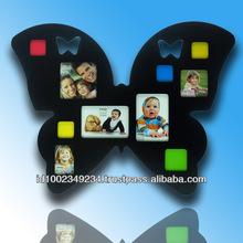 Photo Frame Butterfly Black w/ (4)2x2, 2.5x2.5, 2.25x3.25, 3x3, 3.5x5, 4x4, 5x3.5 op. Photo Frame