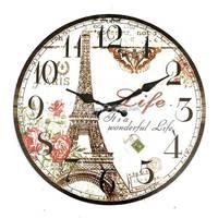 Hot sales Large Quartz Needle Wall Clock Eiffel Tower Retro Vintage Rustic Shabby Home Office Cafe Bar Art Decoration