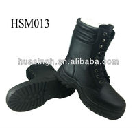 DH,embossed leather rubber sole wholesale black steel shank military safety boots for soldier