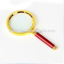 Popular Promotion gifts wooden handle meatl golden frame magnifier 5x