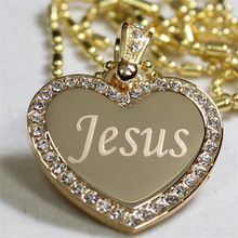 Yiwu Aceon CZ BLING HEART Gold plated High quality polish JESUS TAG PENDANT NECKLACE
