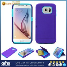 [NP-2114] PC+Silicon Case with Card Box and Holder for Samsung for Galaxy S6 G920