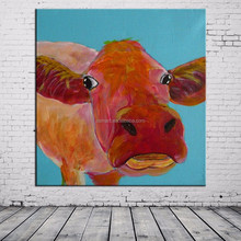 2015 New Arrival Handmade Abstract Animals Cartoon Cow Oil Painting For Wall Decor