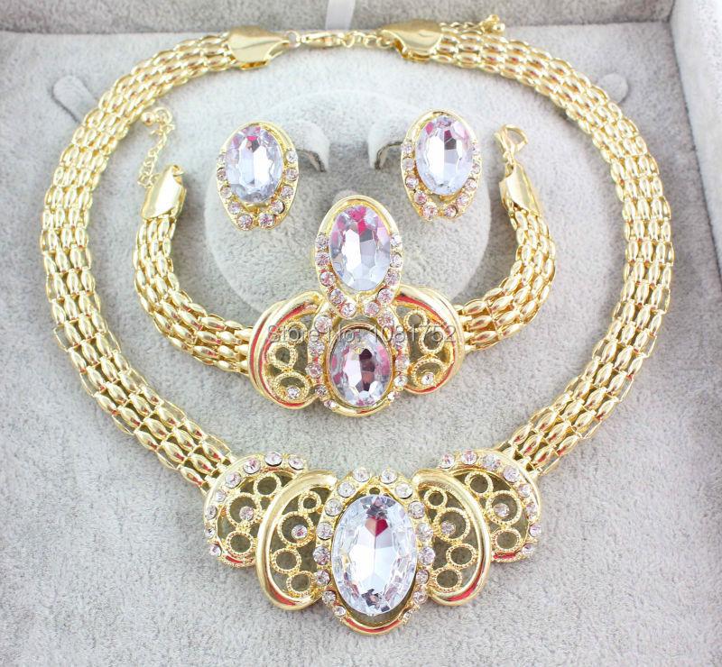 Бесплатная доставка новая африканская позолоченные украшения комплект для женщин свадебных аксессуаров позолоченные горный хрусталь ювелирных изделий