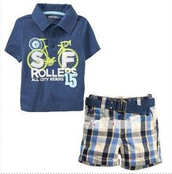 2015 SUMMER KIDS BOYS CASUAL FASHION CLOTHES SETS EUROPEAN STYLE,POLO T-SHIRT+SHORT PLAID PANT